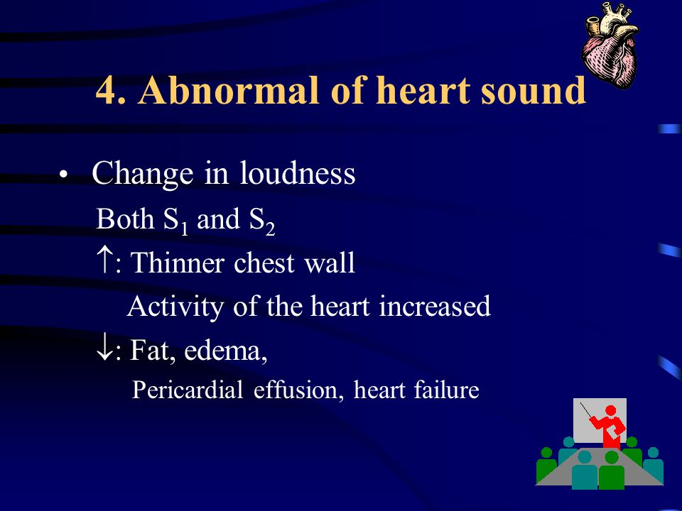 4. Abnormal of heart sound Change in loudness Both S 1 and S 2  : Thinner chest wall Activity of the heart increased  : Fat, edema, Pericardial effu