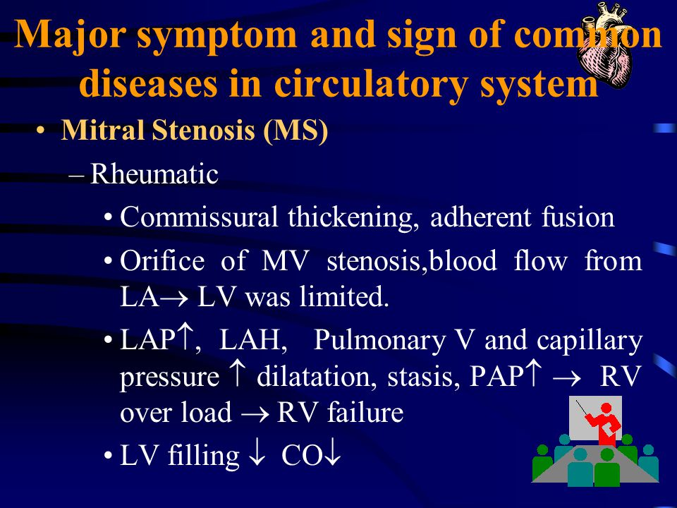Major symptom and sign of common diseases in circulatory system Mitral Stenosis (MS) –Rheumatic Commissural thickening, adherent fusion Orifice of MV