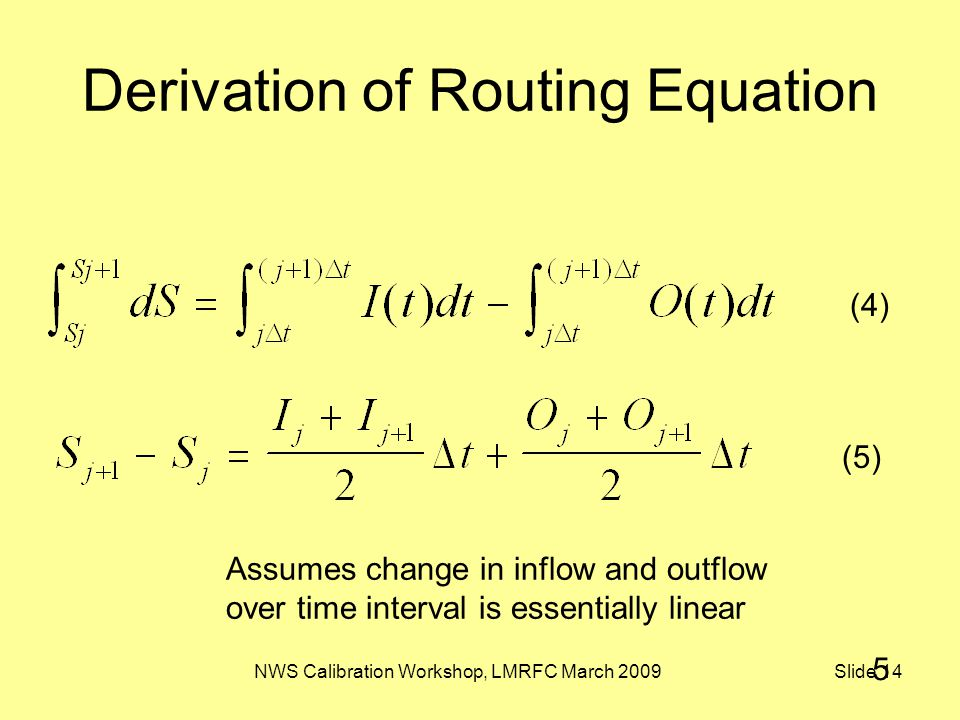 NWS Calibration Workshop, LMRFC March 2009 Slide 14 Derivation of Routing Equation Assumes change in inflow and outflow over time interval is essentially linear (4) (5) 5