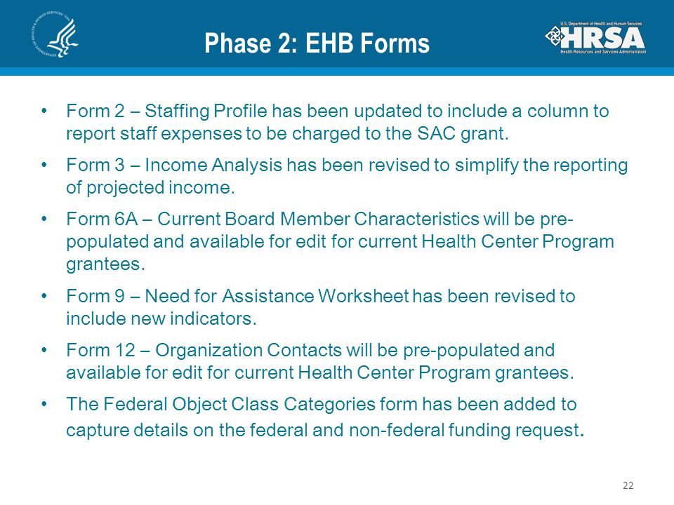 Phase 2: EHB Forms Form 2 – Staffing Profile has been updated to include a column to report staff expenses to be charged to the SAC grant.