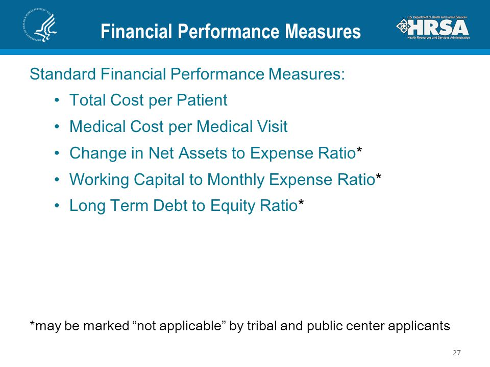 Financial Performance Measures Standard Financial Performance Measures: Total Cost per Patient Medical Cost per Medical Visit Change in Net Assets to Expense Ratio* Working Capital to Monthly Expense Ratio* Long Term Debt to Equity Ratio* *may be marked not applicable by tribal and public center applicants 27