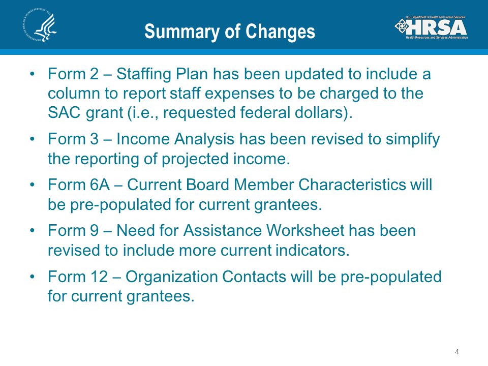 Summary of Changes Form 2 – Staffing Plan has been updated to include a column to report staff expenses to be charged to the SAC grant (i.e., requested federal dollars).