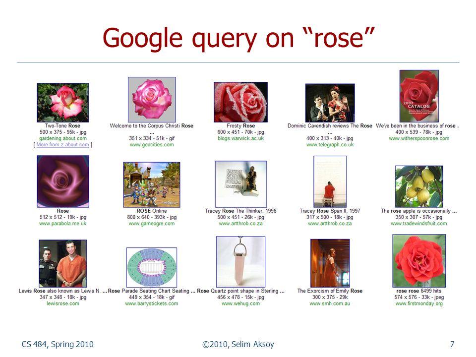 CS 484, Spring 2010©2010, Selim Aksoy8 Corel query on rose