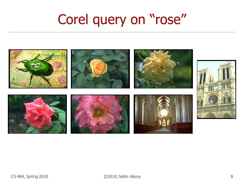 CS 484, Spring 2010©2010, Selim Aksoy9 Corbis query on rose