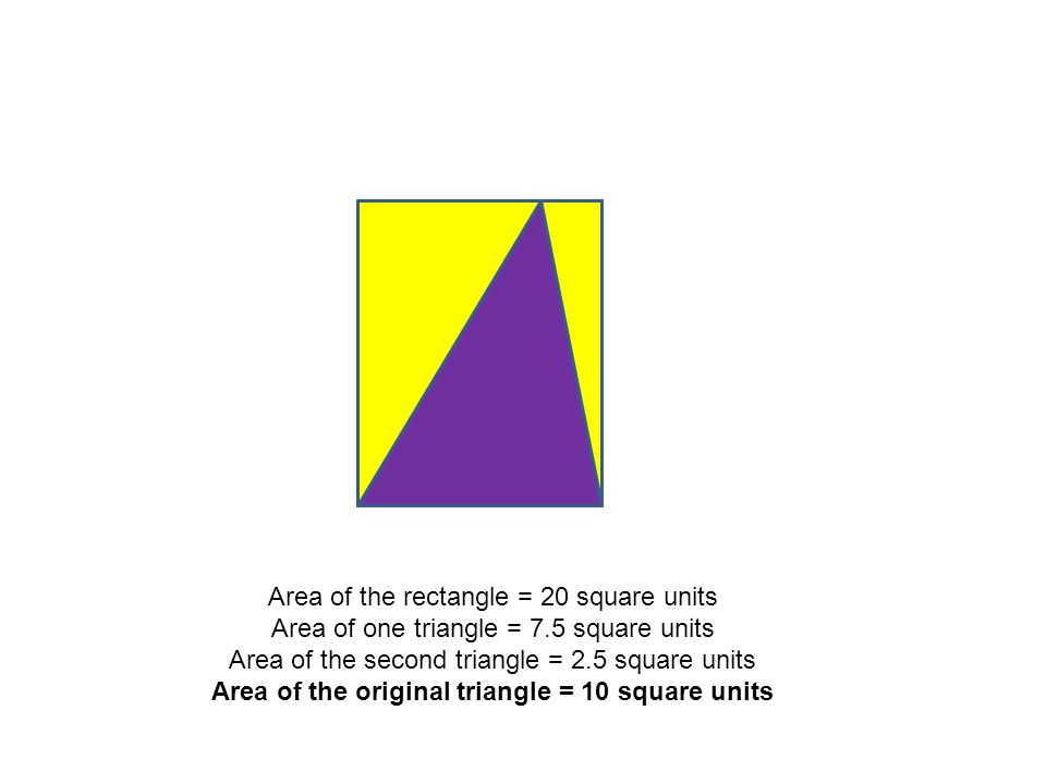 Area of the rectangle = 20 square units Area of one triangle = 7.5 square units Area of the second triangle = 2.5 square units Area of the original triangle = 10 square units