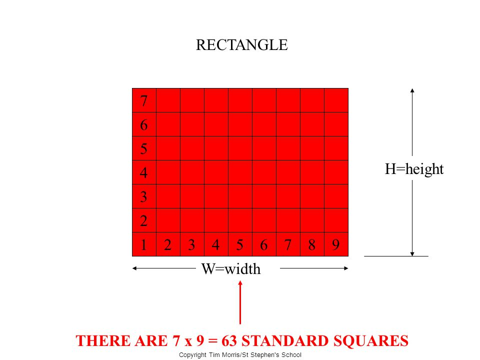 Copyright Tim Morris/St Stephen's School RECTANGLE W=width H=height What is the area of this rectangle? THERE ARE 7 x 9 = 63 STANDARD SQUARES 1 234567