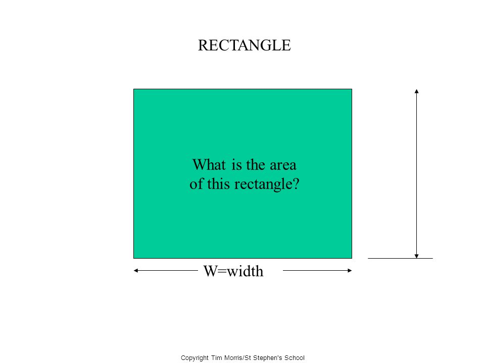 Copyright Tim Morris/St Stephen's School RECTANGLE W=width What is the area of this rectangle?