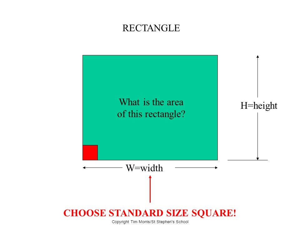 Copyright Tim Morris/St Stephen's School RECTANGLE W=width H=height What is the area of this rectangle? CHOOSE STANDARD SIZE SQUARE!