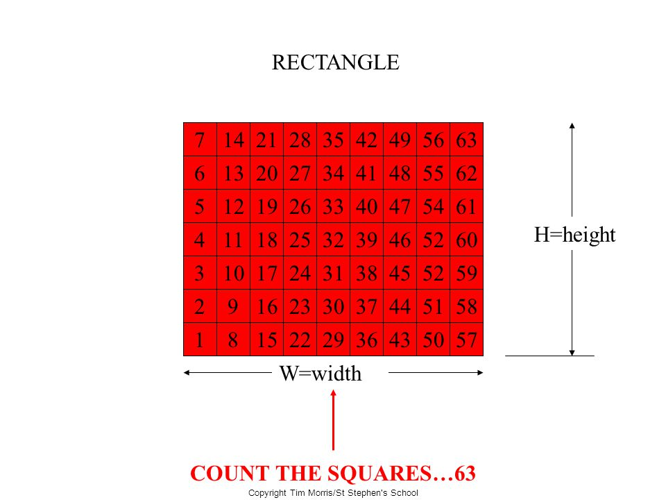 Copyright Tim Morris/St Stephen's School RECTANGLE W=width H=height What is the area of this rectangle? COUNT THE SQUARES…63 1 2 3 4 5 6 7 8 9 10 11 1