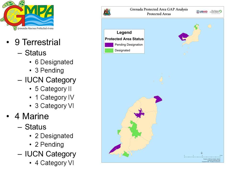 9 Terrestrial –Status 6 Designated 3 Pending –IUCN Category 5 Category II 1 Category IV 3 Category VI 4 Marine –Status 2 Designated 2 Pending –IUCN Category 4 Category VI