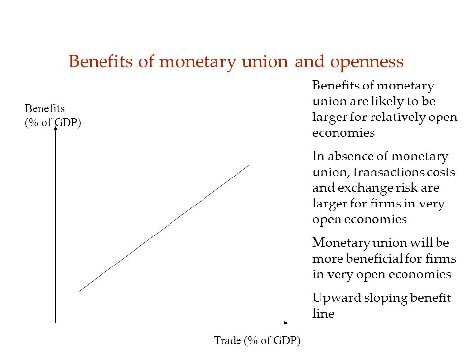 Benefits of monetary union and openness Benefits (% of GDP) Trade (% of GDP) Benefits of monetary union are likely to be larger for relatively open economies In absence of monetary union, transactions costs and exchange risk are larger for firms in very open economies Monetary union will be more beneficial for firms in very open economies Upward sloping benefit line