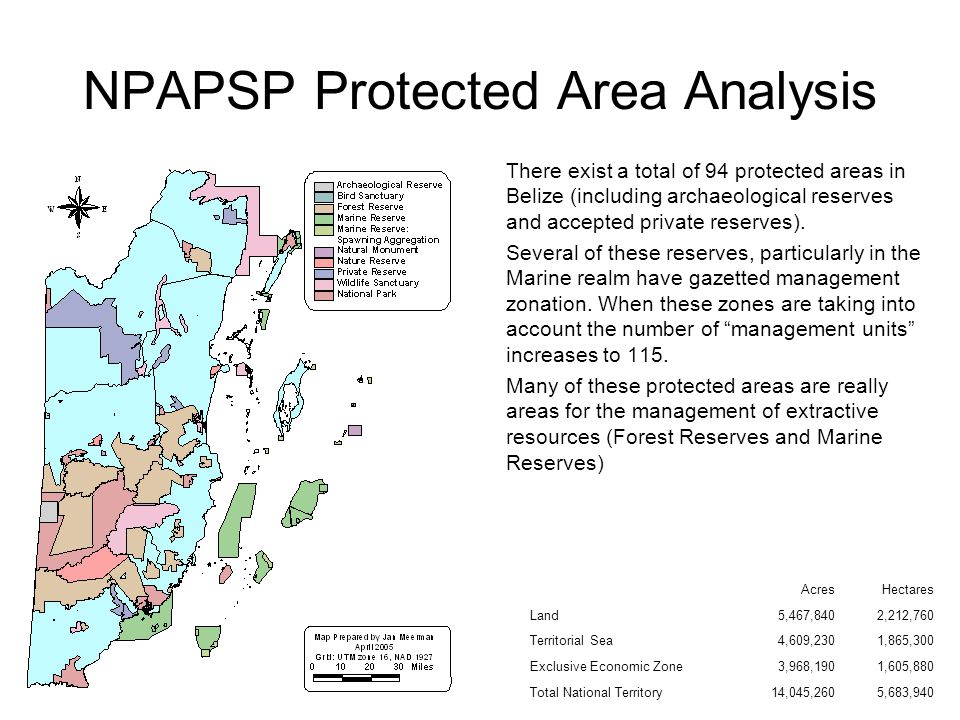 NPAPSP Protected Area Analysis The amount of the national territory under some form of conservation management is 26 %.