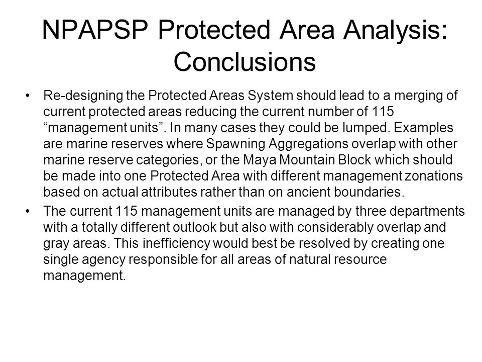 NPAPSP Protected Area Analysis: Conclusions Re-designing the Protected Areas System should lead to a merging of current protected areas reducing the current number of 115 management units .