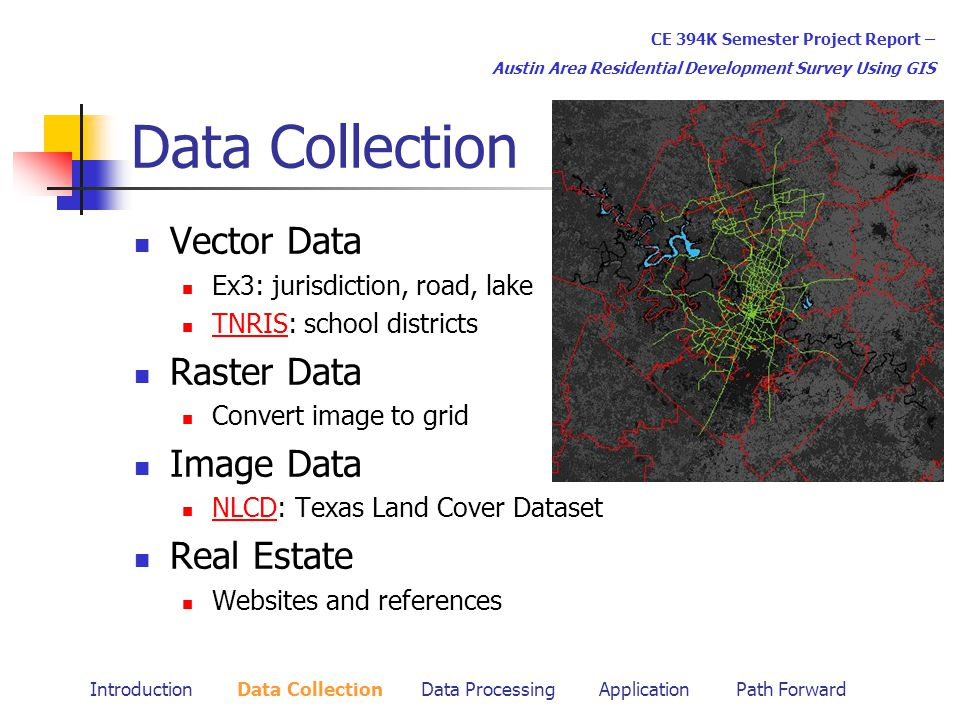 Data Collection Vector Data Ex3: jurisdiction, road, lake TNRIS: school districts TNRIS Raster Data Convert image to grid Image Data NLCD: Texas Land Cover Dataset NLCD Real Estate Websites and references CE 394K Semester Project Report – Austin Area Residential Development Survey Using GIS Introduction Data Collection Data Processing Application Path Forward
