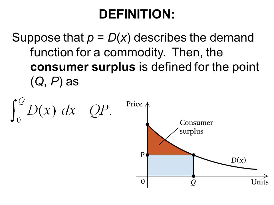 DEFINITION: Suppose that p = D(x) describes the demand function for a commodity.