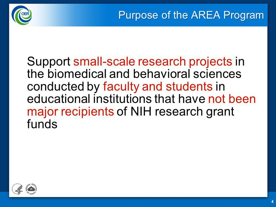 NIH Funding Statistics for AREA Program Excludes awards made with American Recovery and Reinvestment Act (ARRA) funds