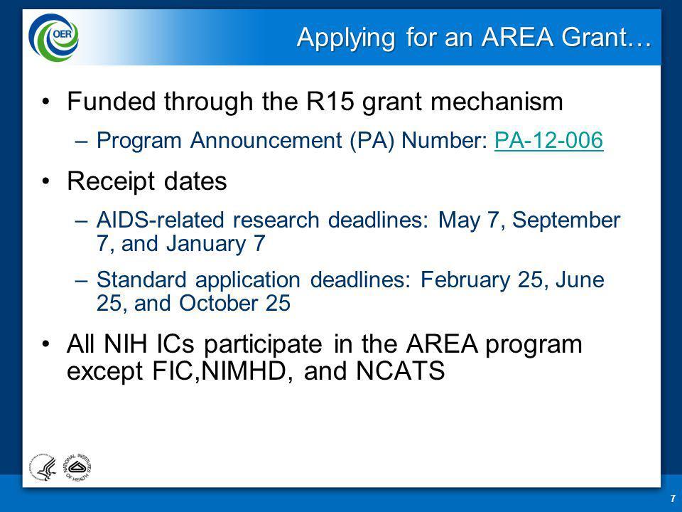 Thank you… Erica Brown, PhD Director, NIH AREA Program ebrown1@mail.nih.gov 28 Follow us on Facebook!Facebook