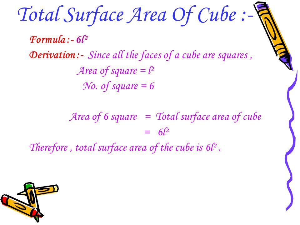 Total Surface Area Of Cube :- Formula :- 6l² Derivation :- Since all the faces of a cube are squares, Area of square = l² No. of square = 6 Area of 6