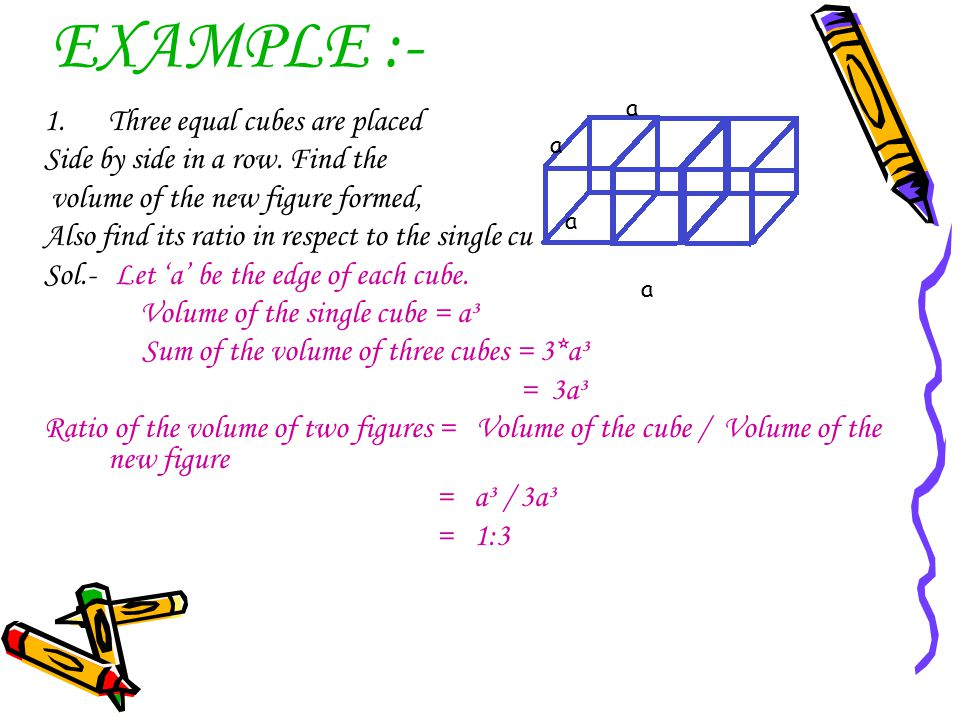 EXAMPLE :- 1.Three equal cubes are placed Side by side in a row. Find the volume of the new figure formed, Also find its ratio in respect to the singl