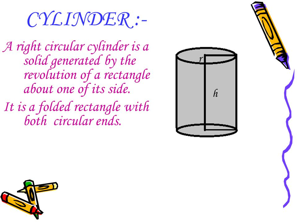 CYLINDER :- A right circular cylinder is a solid generated by the revolution of a rectangle about one of its side. It is a folded rectangle with both