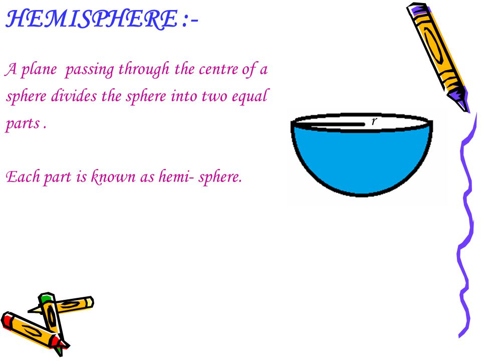 HEMISPHERE :- A plane passing through the centre of a sphere divides the sphere into two equal parts. Each part is known as hemi- sphere. r