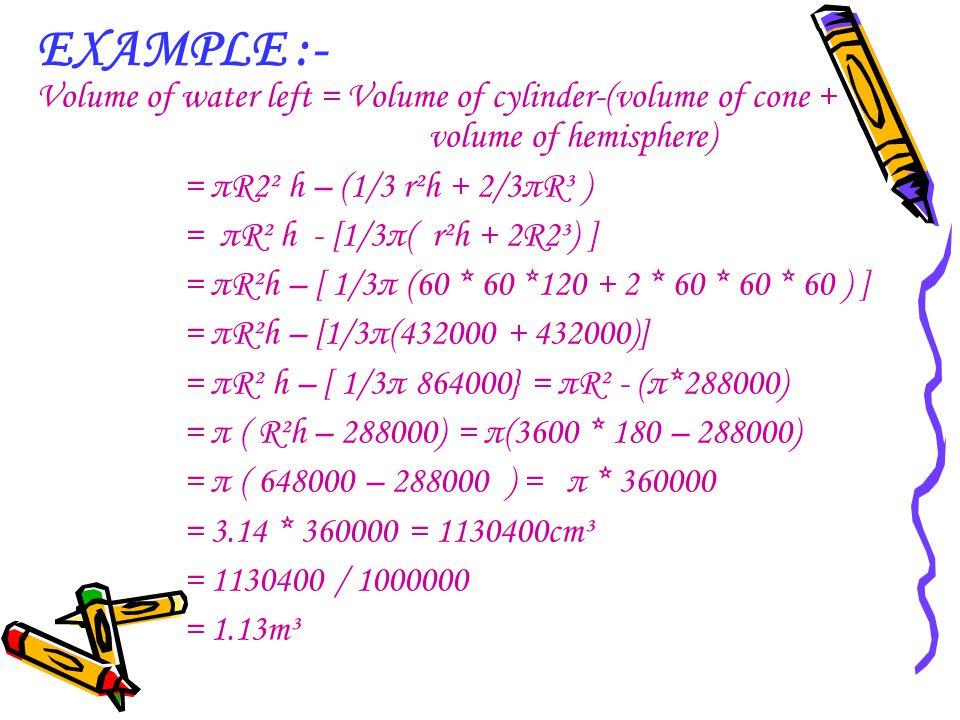 EXAMPLE :- Volume of water left = Volume of cylinder-(volume of cone + volume of hemisphere) = πR2² h – (1/3 r²h + 2/3πR³ ) = πR² h - [1/3π( r²h + 2R2