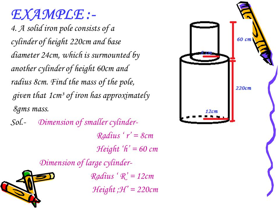 EXAMPLE :- 4. A solid iron pole consists of a cylinder of height 220cm and base diameter 24cm, which is surmounted by another cylinder of height 60cm