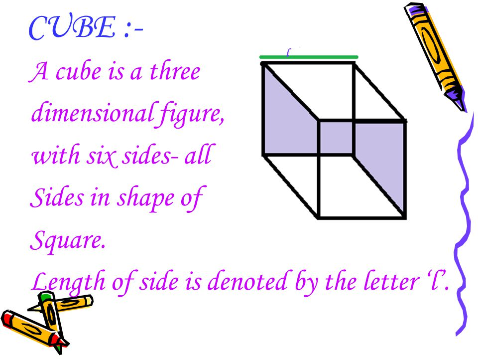CUBE :- A cube is a three dimensional figure, with six sides- all Sides in shape of Square. Length of side is denoted by the letter 'l'. l