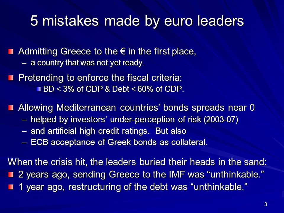 3 5 mistakes made by euro leaders Admitting Greece to the € in the first place, –a country that was not yet ready.