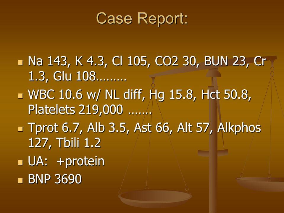 Case Report: EKG: STach 115, LVH EKG: STach 115, LVH CXR: CM, Increased PVC, Small bil pleural CXR: CM, Increased PVC, Small bil pleural effusions effusions Initial A/P: New CHF…..Started on Natrecor, Lasix, Digoxin, Captopril, and Lasix, Digoxin, Captopril, and Aldactone……More to Aldactone……More to follow……………………… follow………………………