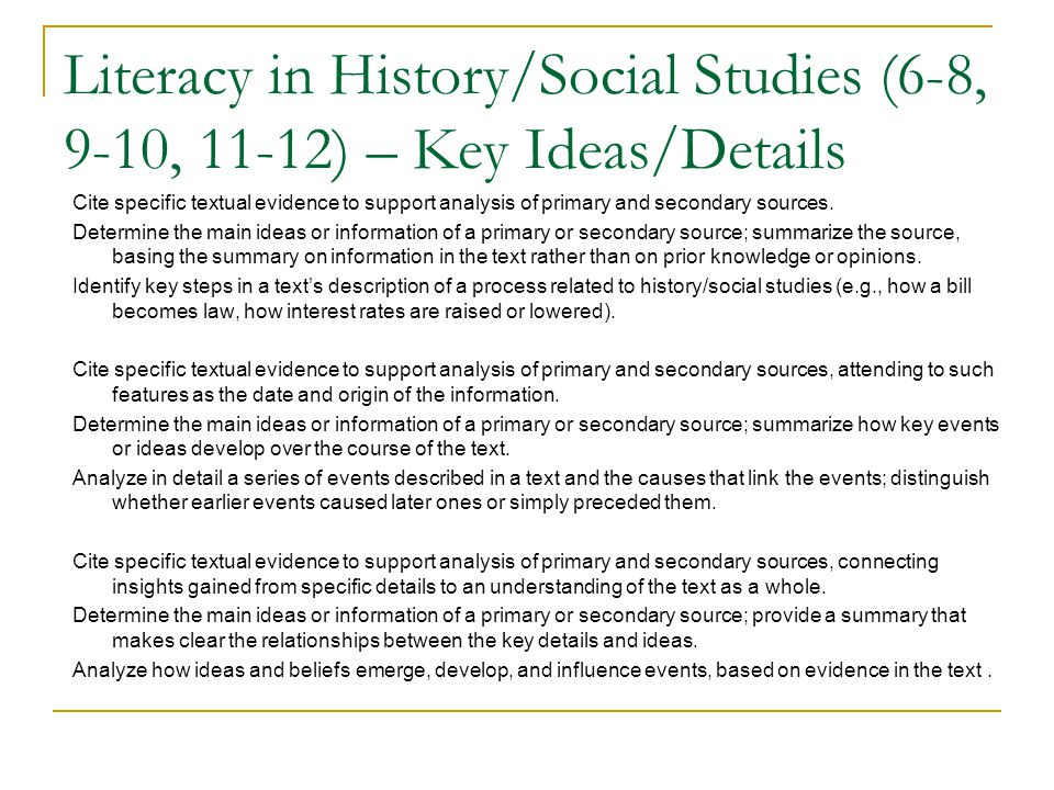 Literacy in History/Social Studies (6-8, 9-10, 11-12) – Key Ideas/Details Cite specific textual evidence to support analysis of primary and secondary