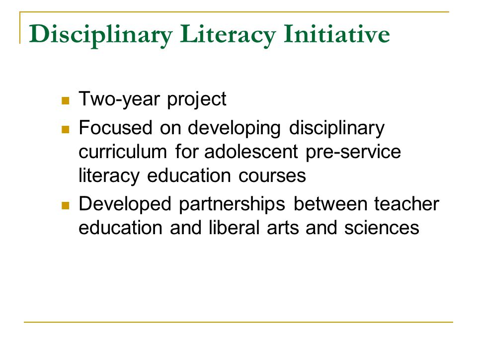 Disciplinary Literacy Intermediate Literacy Basic Literacy Increasing Specialization of Literacy