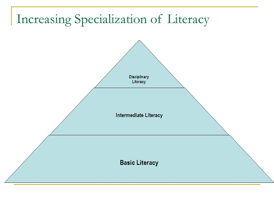 Goals of Disciplinary Literacy Initiative To identify specialized reading skills within mathematics, chemistry, and history To develop instructional materials and strategies linked to those specialized reading skills To implement those strategies successfully in high schools and with pre- service teacher education candidates
