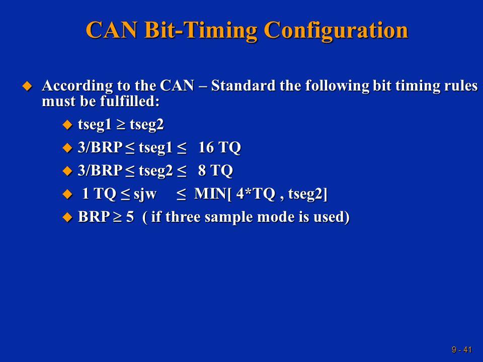 9 - 41 CAN Bit-Timing Configuration  According to the CAN – Standard the following bit timing rules must be fulfilled:  tseg1  tseg2  3/BRP ≤ tseg1 ≤ 16 TQ  3/BRP ≤ tseg2 ≤ 8 TQ  1 TQ ≤ sjw ≤ MIN[ 4*TQ, tseg2]  BRP  5 ( if three sample mode is used)