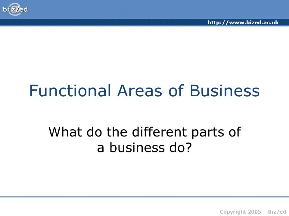 http://www.bized.ac.uk Copyright 2005 – Biz/ed Functional Areas of Business What do the different parts of a business do?