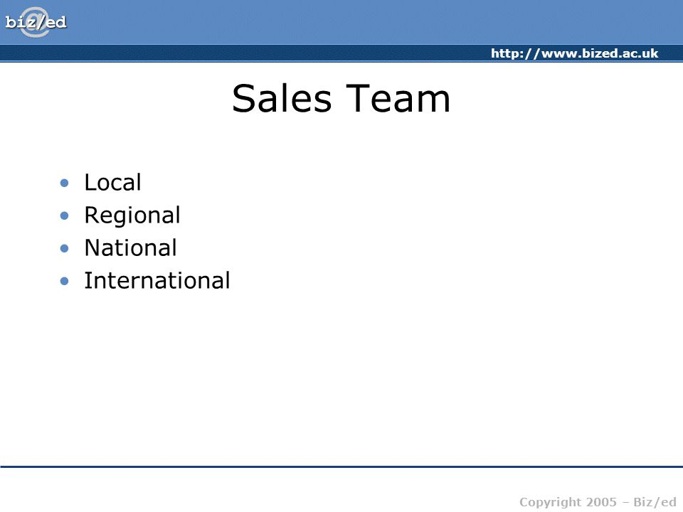 http://www.bized.ac.uk Copyright 2005 – Biz/ed Sales Team Local Regional National International