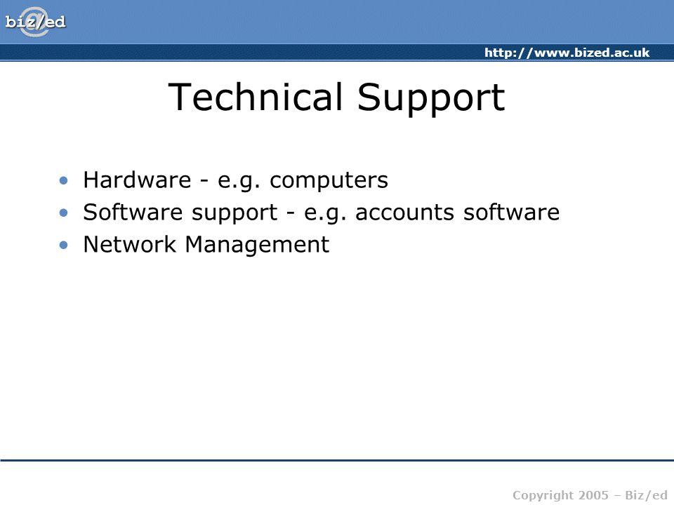 http://www.bized.ac.uk Copyright 2005 – Biz/ed Technical Support Hardware - e.g. computers Software support - e.g. accounts software Network Managemen