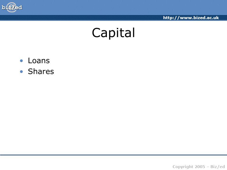 http://www.bized.ac.uk Copyright 2005 – Biz/ed Capital Loans Shares