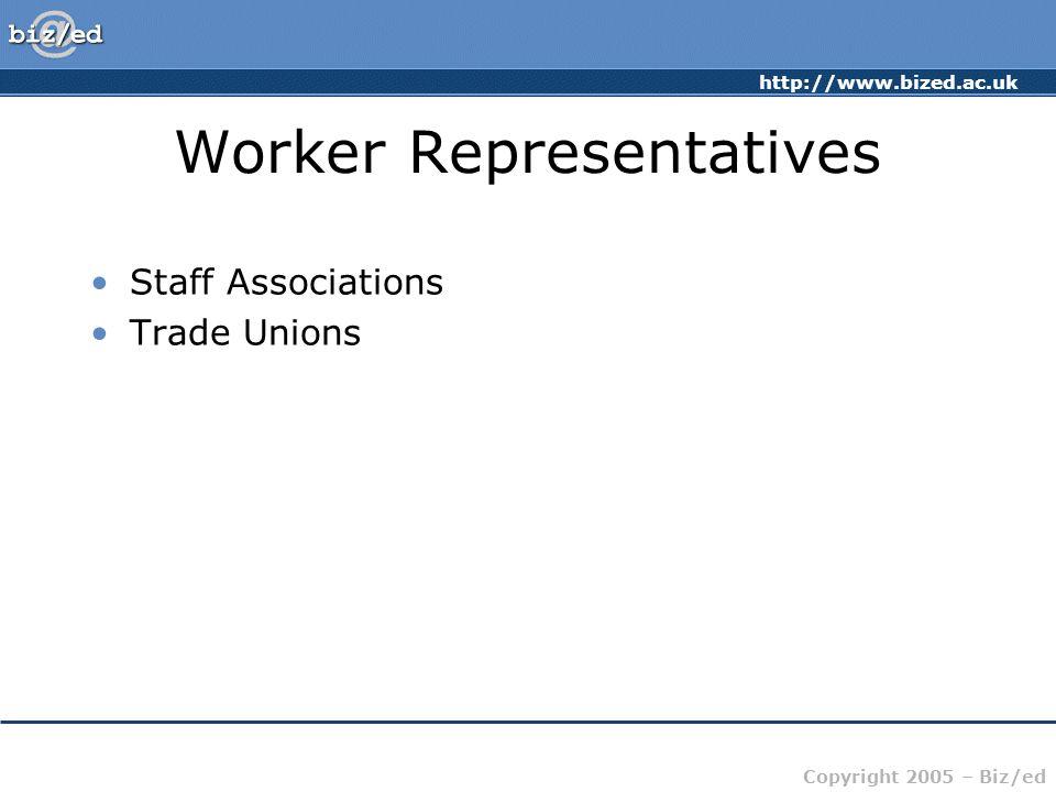 http://www.bized.ac.uk Copyright 2005 – Biz/ed Worker Representatives Staff Associations Trade Unions