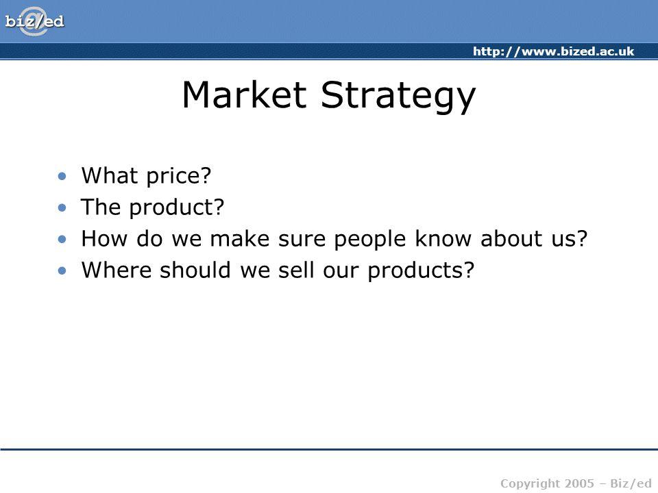 http://www.bized.ac.uk Copyright 2005 – Biz/ed Market Strategy What price.