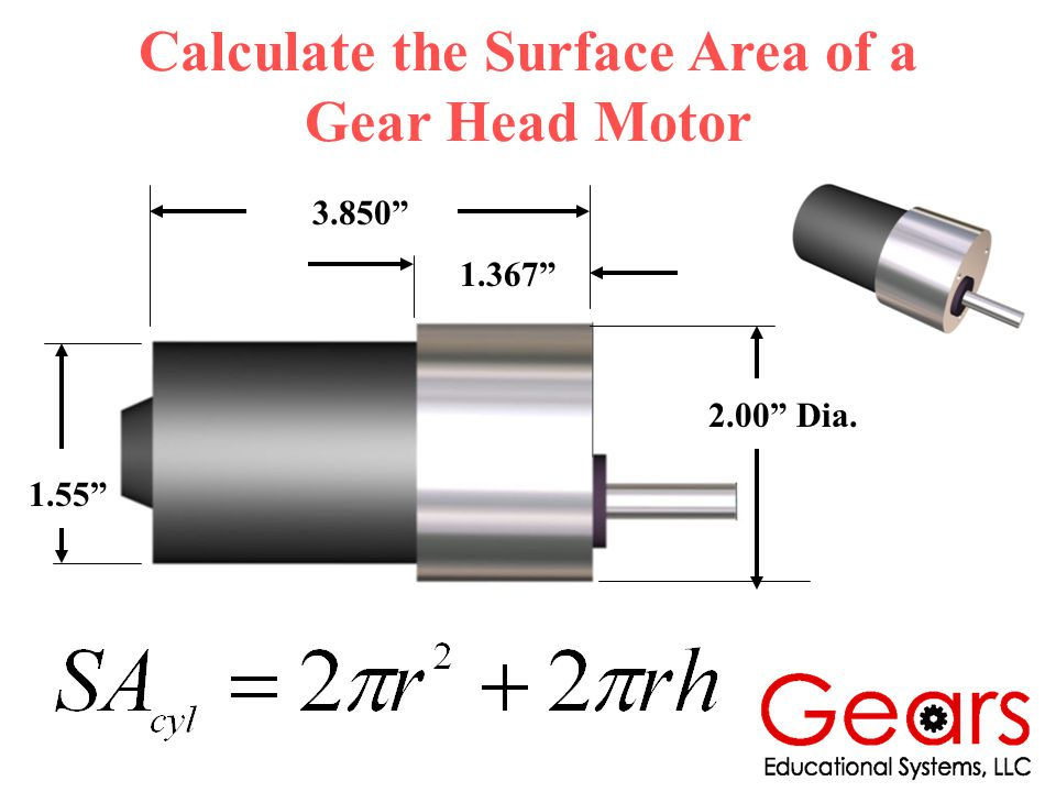Calculate the Surface Area of a Gear Head Motor 2.00 Dia. 1.55 3.850 1.367