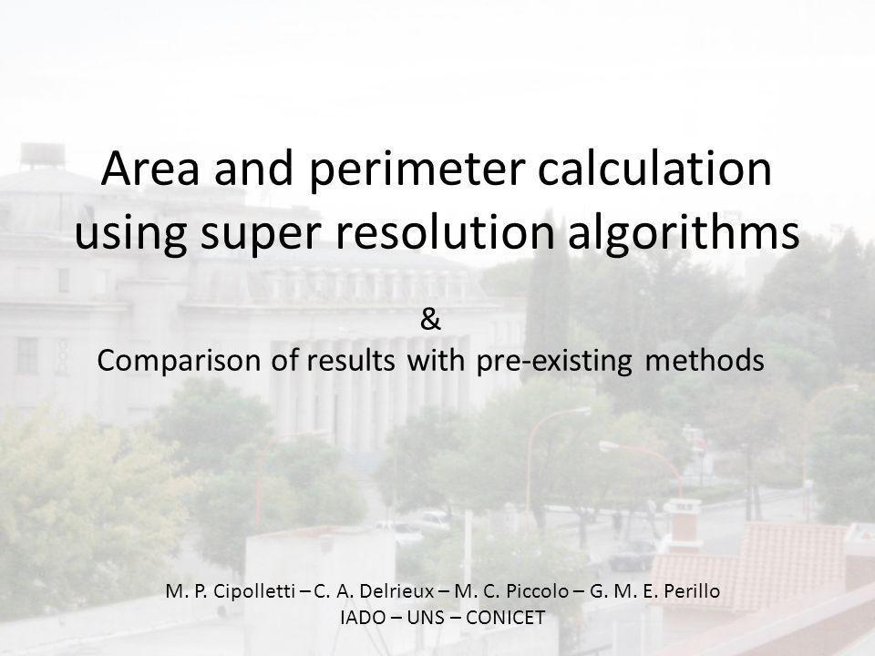 Area and perimeter calculation using super resolution algorithms M. P. Cipolletti – C. A. Delrieux – M. C. Piccolo – G. M. E. Perillo IADO – UNS – CON