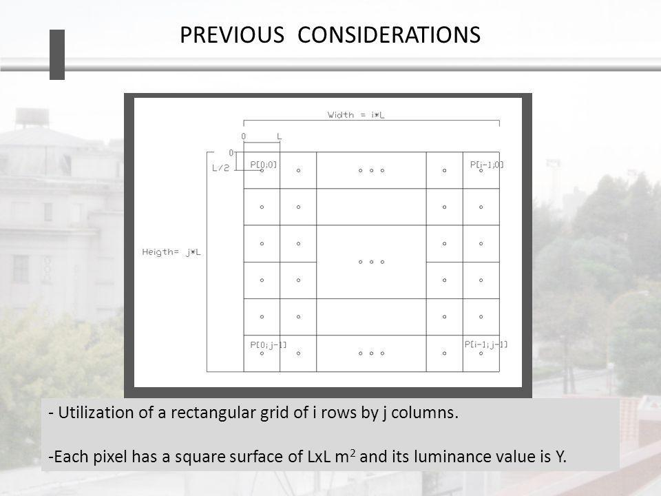 PREVIOUS CONSIDERATIONS - Utilization of a rectangular grid of i rows by j columns.