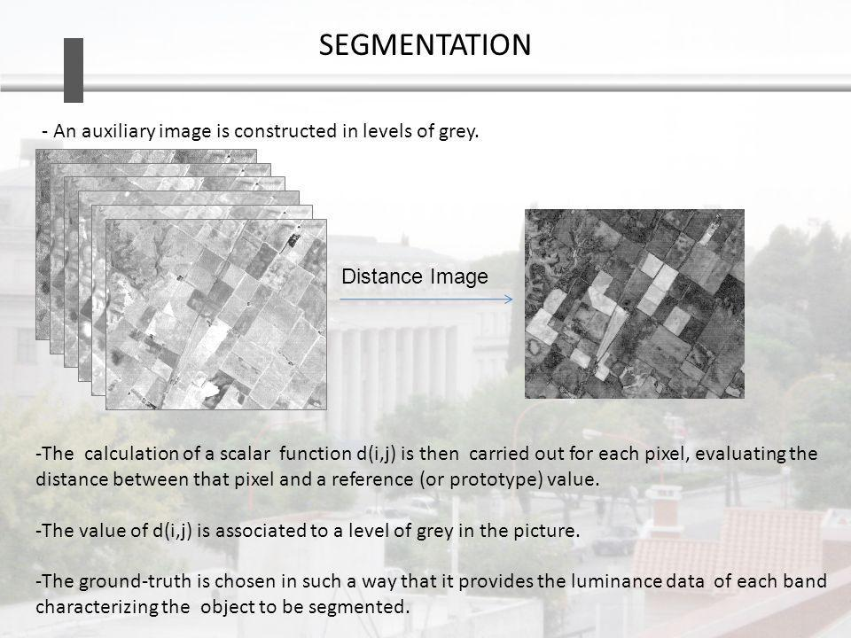 SEGMENTATION -The calculation of a scalar function d(i,j) is then carried out for each pixel, evaluating the distance between that pixel and a reference (or prototype) value.