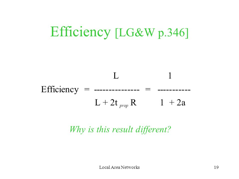 Local Area Networks19 Efficiency [LG&W p.346] L 1 Efficiency = --------------- = ----------- L + 2t prop R 1 + 2a Why is this result different