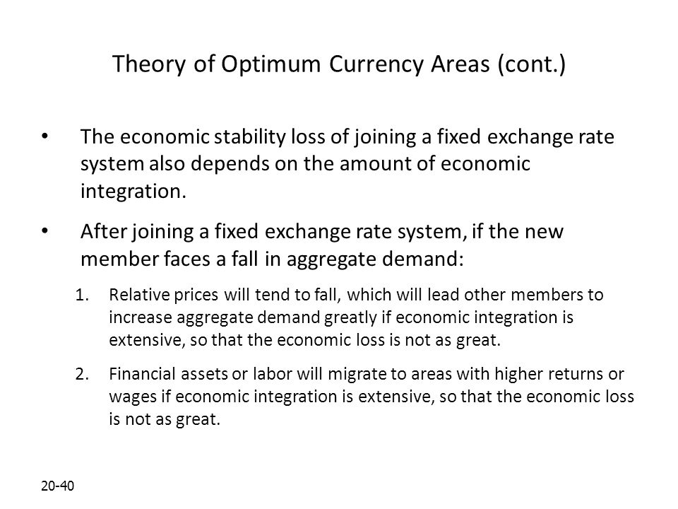 20-40 Theory of Optimum Currency Areas (cont.) The economic stability loss of joining a fixed exchange rate system also depends on the amount of economic integration.