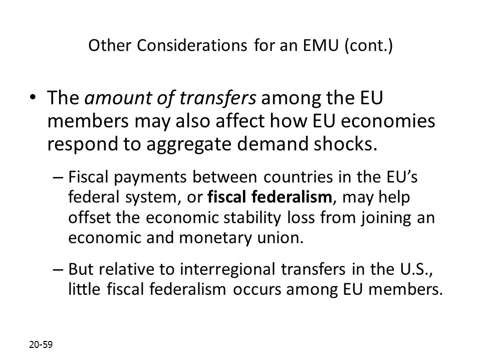 20-59 Other Considerations for an EMU (cont.) The amount of transfers among the EU members may also affect how EU economies respond to aggregate deman