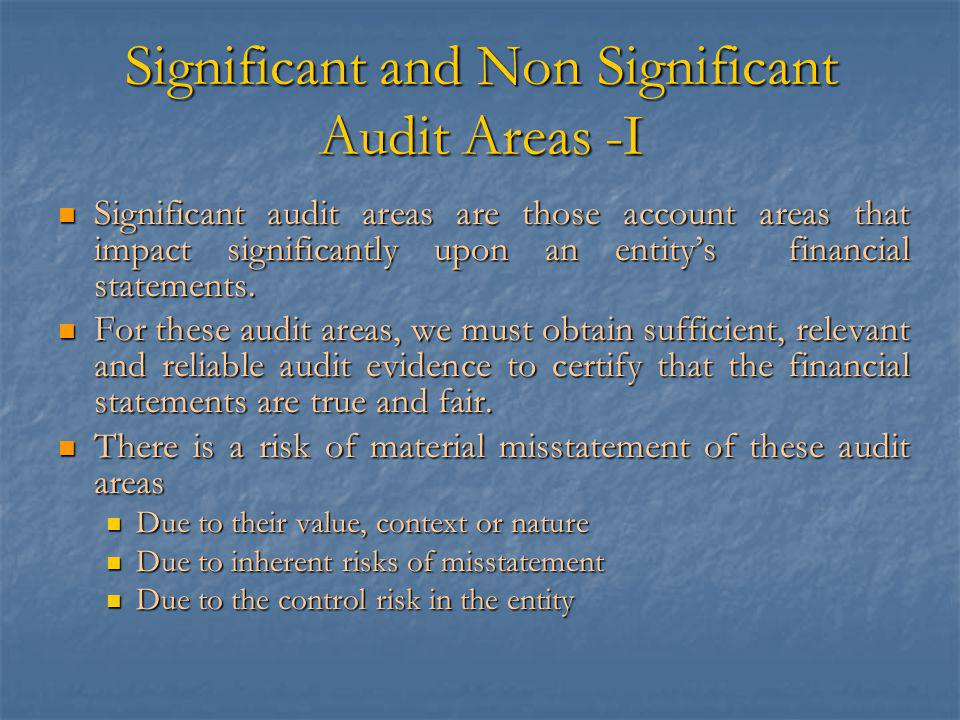 Significant and Non Significant Audit Areas -I Significant audit areas are those account areas that impact significantly upon an entity's financial statements.