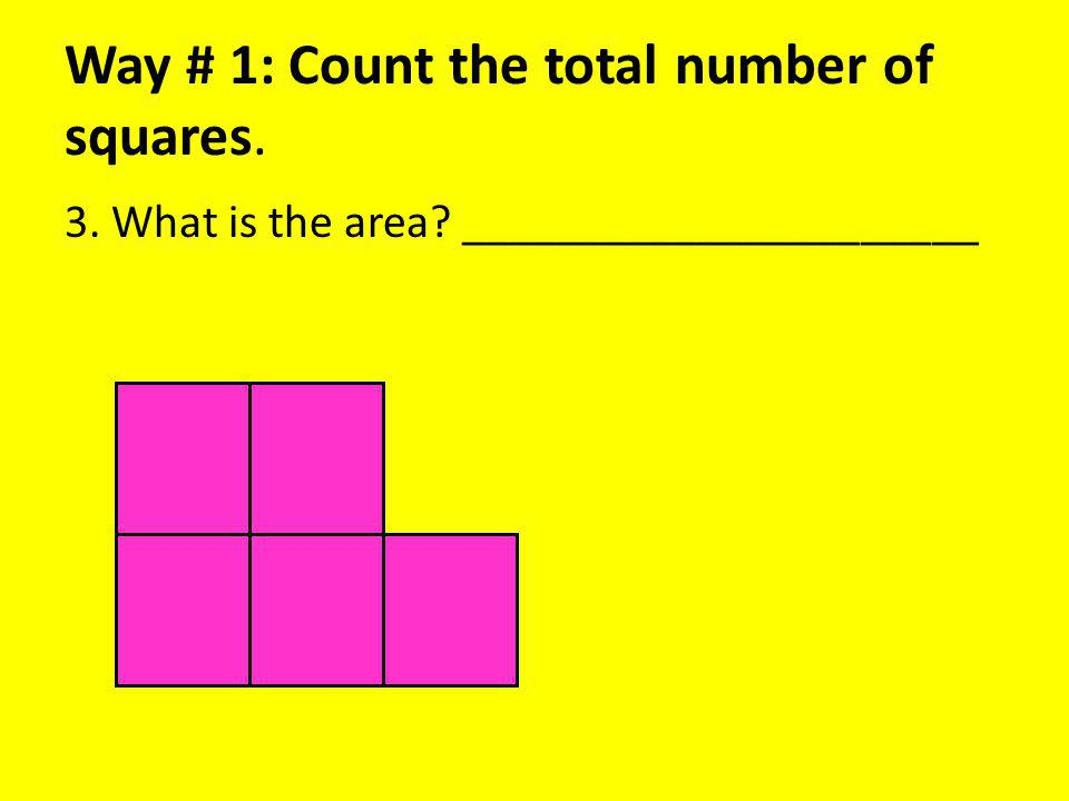 Way # 1: Count the total number of squares. 3. What is the area ______________________