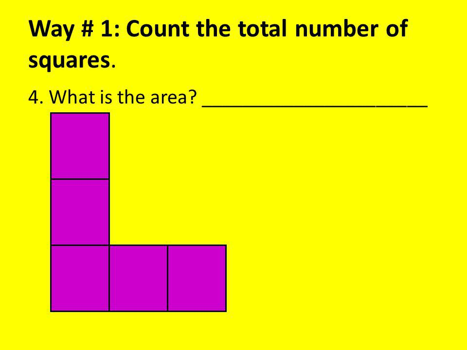 Way # 1: Count the total number of squares. 4. What is the area ______________________